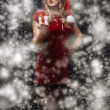 Santa brunette girl — Stock Photo