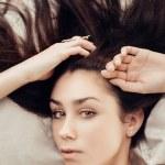 sensuell brunett — Stockfoto