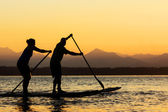 Couple paddling stand up paddle boards — Stock Photo