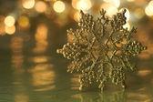 Gold Snowflake Holiday Background — Stock Photo