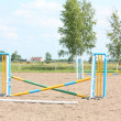 Show jumping vertical barrier at the training field — Photo