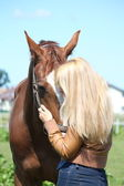 Blonde woman and chestnut horse — Stock Photo