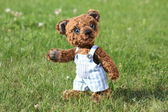 Smiling brown teddy bear in blue shorts — Stock Photo