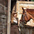 Stock Photo: Portrait of teenage girl and chestnut horse near wooden stab