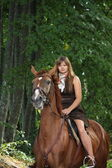 Girl in dress and brown horse portrait in forest — Stock Photo