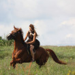 Beautiful teenage girl riding horse at the field - Stockfoto
