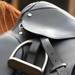 Close up of black saddle on horse back — Stock Photo
