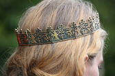 Close up of person with medieval crown — Stock Photo