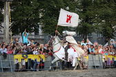 RIGA, LATVIA - AUGUST 21: Member of The Devils Horsemen stunt te — Stock Photo