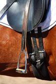 Black leather saddle close up — Stock Photo