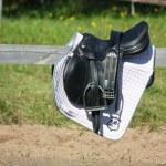 Black leather saddle close up — Stock Photo #42121133