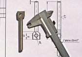 Vernier caliper, detail, drawing — Stock Photo