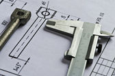 Vernier caliper, detail, drawing- 2 — Stock Photo