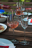 Shot glasses filled with wine — Стоковое фото
