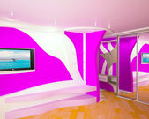 Creative room in lilac color. — Stock Photo