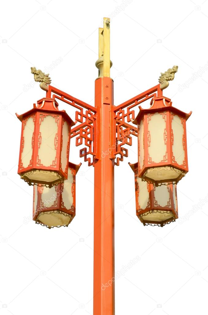 Chinese street lamp isolated on white background — Stock Photo #12678343