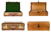 Collage of suitcases and chests isolated — Stock Photo