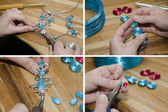 Hands of woman creating fashion jewelry — Stock Photo
