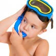 Child with diving mask — Stock Photo