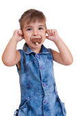 Little curly girl with ice cream — Stock Photo