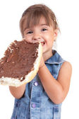 Little girl with big sandwich — Stock Photo