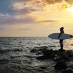 Sunset Surfer Silhouette — Stock Photo