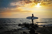 Sunset Surfer Silhouette — Stock Photo