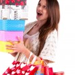 Stock Photo: Close up happy young beautiful girl with the bags