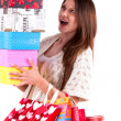 Close up happy young beautiful girl with the bags — Stock Photo
