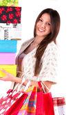 Cerrar feliz chica joven y bella con las maletas — Foto de Stock