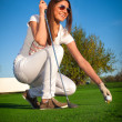 Beauty girl play golf — Stock Photo #14050719