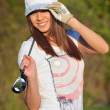 Beauty girl play golf — Stock Photo