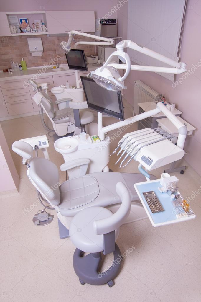 Dental clinic interior design with chair and tools — Stock Photo ...
