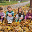 Kids playing in autumn park  — Stock Photo