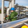 Stock Photo: Gas worker and large gas pipelines