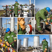 Industrial collage showing workers at work — Stockfoto