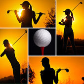 Golf images in a beautiful collage — Stock Photo