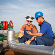 oil workers — Stock Photo