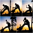 Stock Photo: Industrial collage showing workers at work