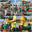 Industrial collage showing workers at work — Stock Photo #29207533