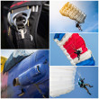 Stock Photo: Parachutist collage