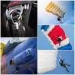 Parachutist collage — Stock Photo