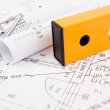 Construction drafts and tools on the table — Stock Photo
