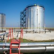 Oil storage and pipeline — Stock Photo