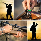 Hunter hunting collage — Stock Photo