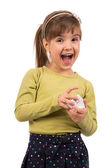 Little Girl with Gift — Stock Photo