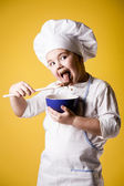 Little boy chef in uniform — Stok fotoğraf