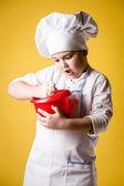 Kleine Junge Chef Uniform — Stockfoto