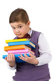 Boy with books for an education — Photo