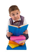 Boy with books for an education — Foto Stock